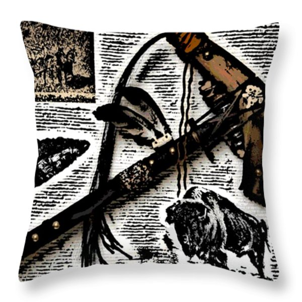 Indian Buffalo Jawbone Tomahawk Throw Pillow by George Pedro