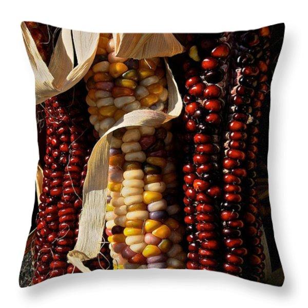 Indian Corn Throw Pillow by Susan Herber