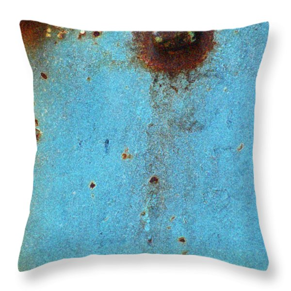 Industrial Blue Abstract Throw Pillow by AdSpice Studios