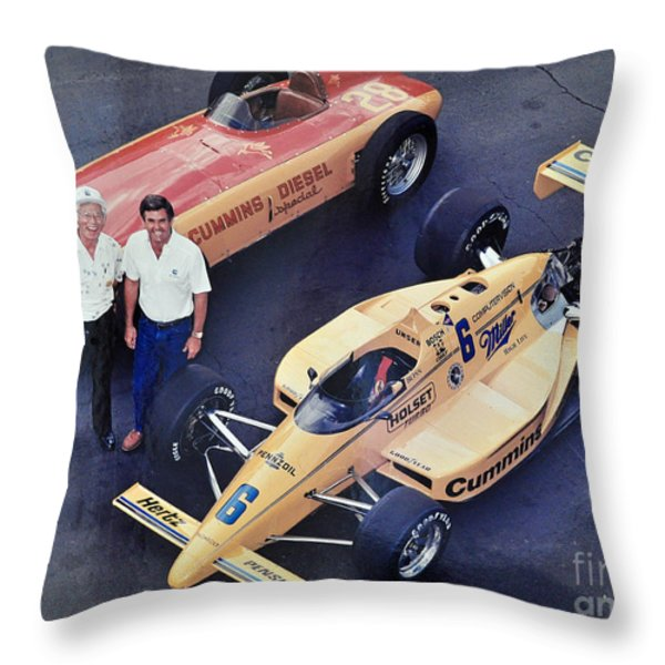Indy 500 Historical Race Cars Throw Pillow by John Black