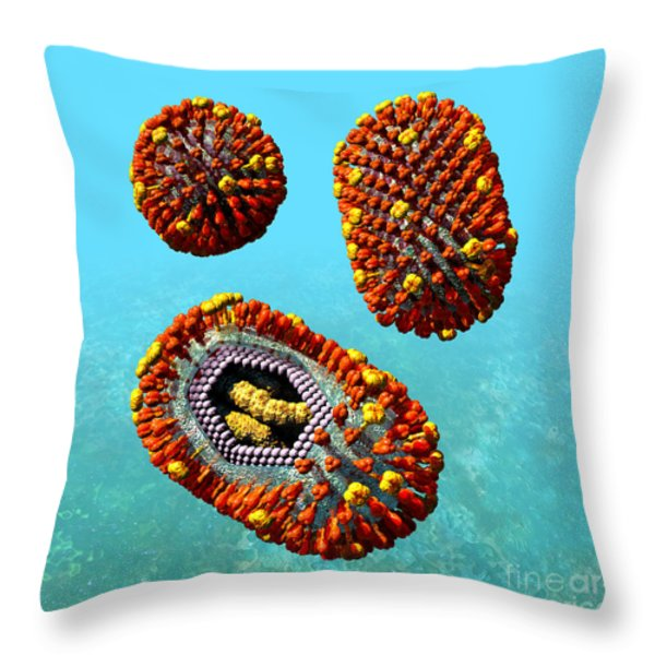Influenza Virus Scene 1 Throw Pillow by Russell Kightley