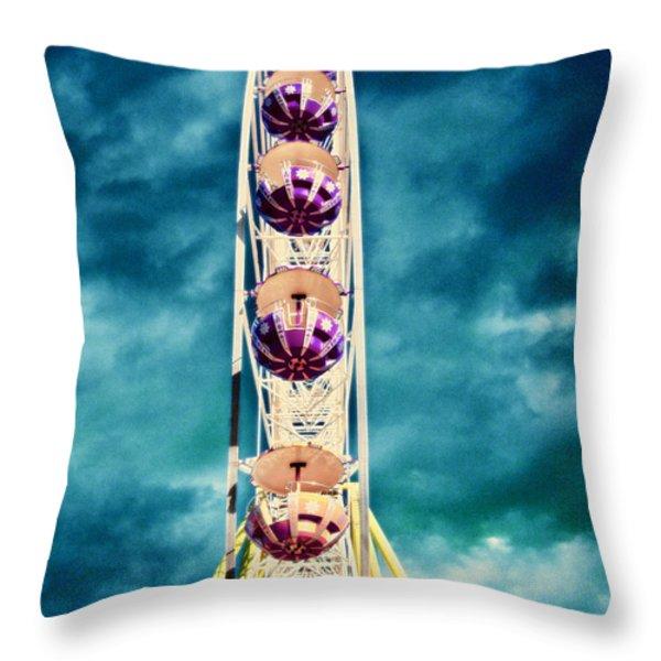 infrared Ferris wheel Throw Pillow by Stylianos Kleanthous