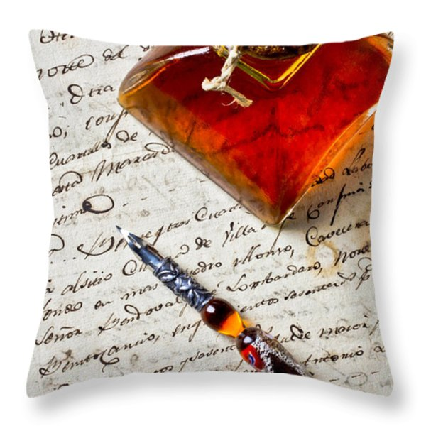 Ink Bottle And Pen  Throw Pillow by Garry Gay