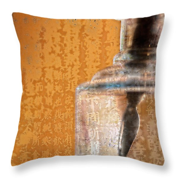 Ink Bottle Calligraphy Throw Pillow by Carol Leigh