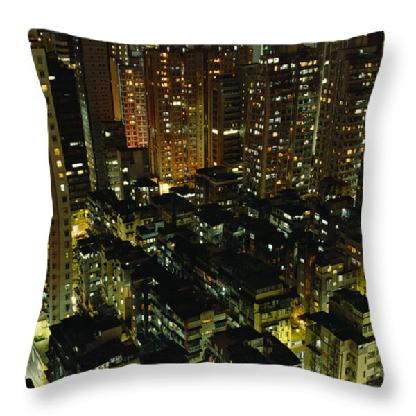 Inland View Of Sheung Wan And Central Throw Pillow by Justin Guariglia