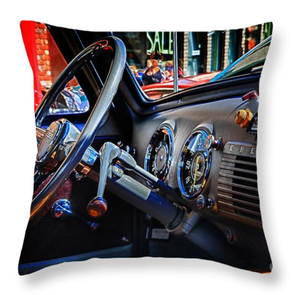 Inside Chevy Throw Pillow by Lori Frostad