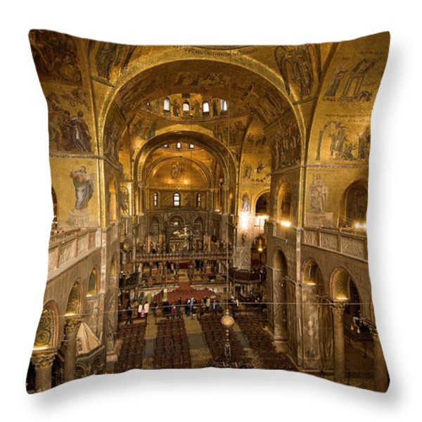 Inside San Marcos Basilica Throw Pillow by Jim Richardson