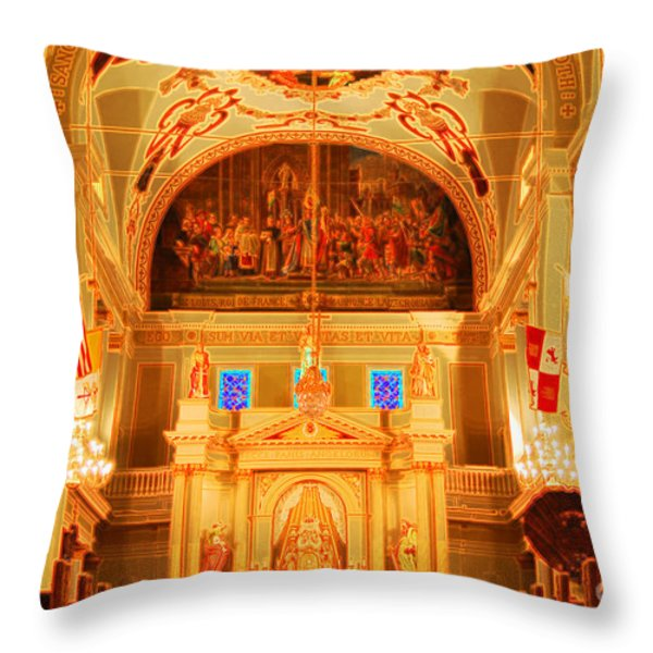 Inside St louis Cathedral Jackson Square French Quarter New Orleans Accented Edges Digital Art Throw Pillow by Shawn O'Brien