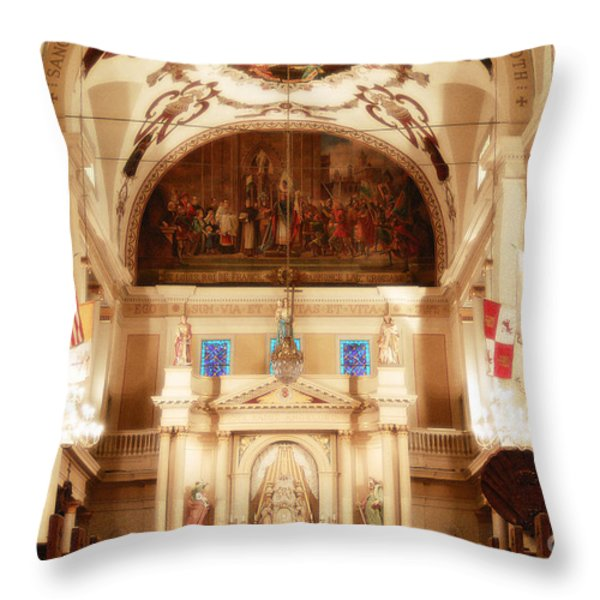 Inside St Louis Cathedral Jackson Square French Quarter New Orleans Diffuse Glow Digital Art Throw Pillow by Shawn O'Brien