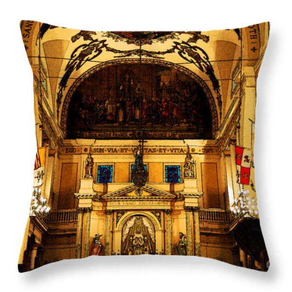 Inside St Louis Cathedral Jackson Square French Quarter New Orleans Fresco Digital Art Throw Pillow by Shawn O'Brien