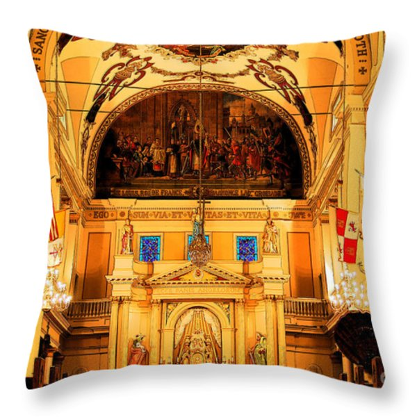 Inside St louis Cathedral Jackson Square French Quarter New Orleans Ink Outlines Digital Art Throw Pillow by Shawn O'Brien