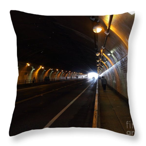 Inside The Stockton Street Tunnel in San Francisco . 7D7363.3 Throw Pillow by Wingsdomain Art and Photography