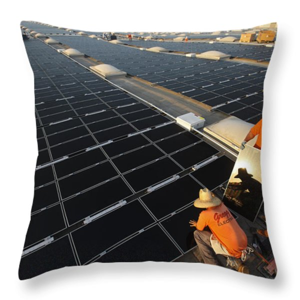 Installing Photovoltaic Panels Throw Pillow by Michael Melford