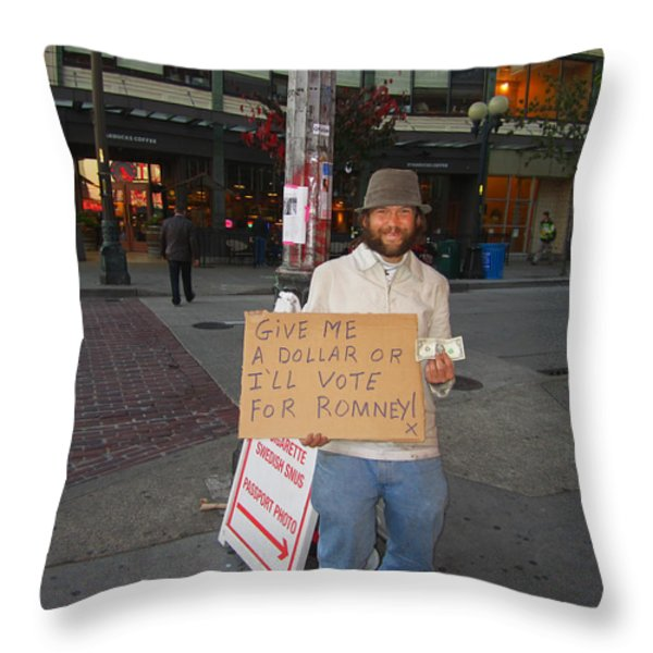 Interesting Way To Panhandle Throw Pillow by Kym Backland