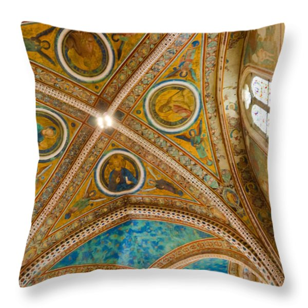 Interior St Francis Basilica Assisi Italy Throw Pillow by Jon Berghoff