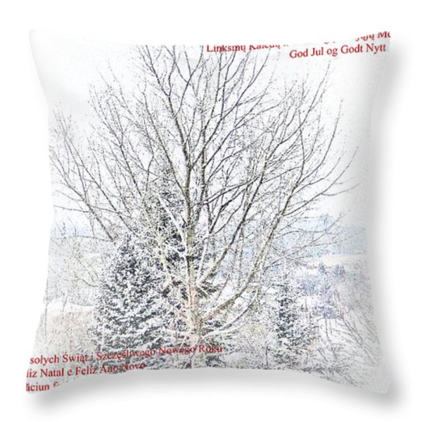 International Christmas Card Throw Pillow by Al Bourassa