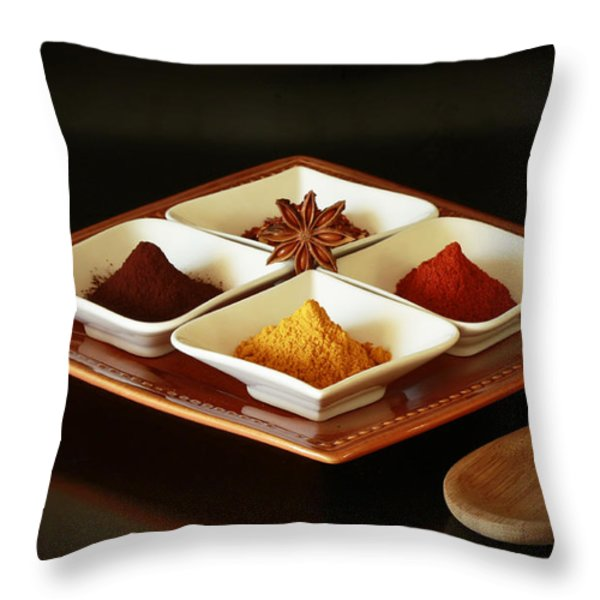 International Kitchen Spices Throw Pillow by Inspired Nature Photography By Shelley Myke