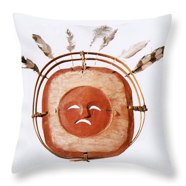 Inuit Moon Mask Throw Pillow by Photo Researchers