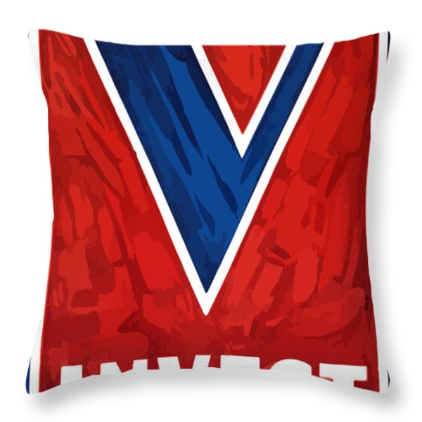 Invest In Victory Throw Pillow by War Is Hell Store
