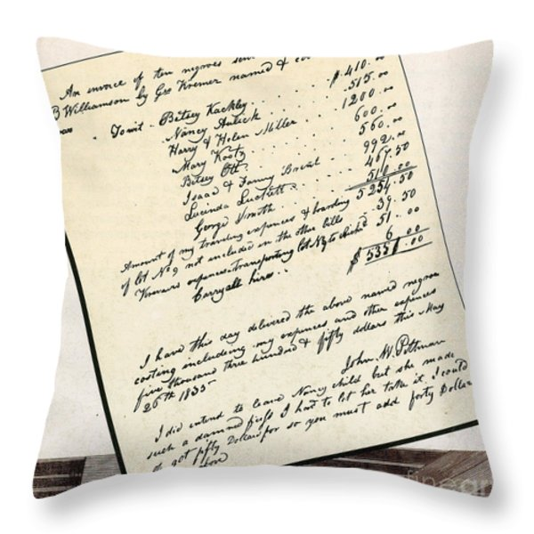 Invoice Of A Sale Of Black Slaves Throw Pillow by Photo Researchers