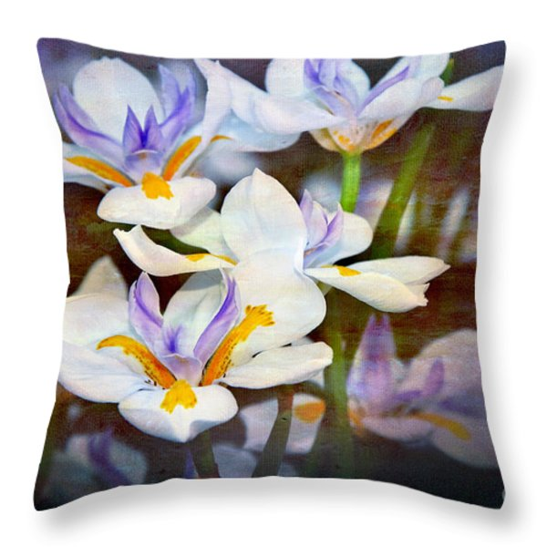 Iris Art Throw Pillow by Kaye Menner