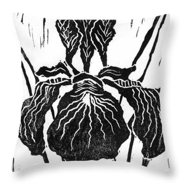 Iris Block Print Throw Pillow by Ellen Miffitt