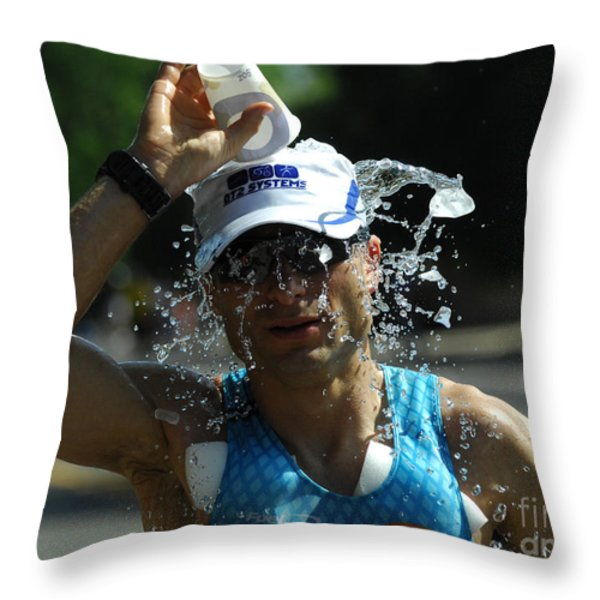 Ironman 2012 A Long Day Throw Pillow by Bob Christopher