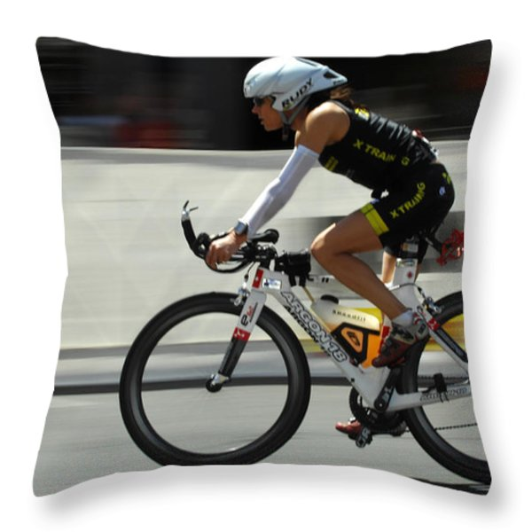 Ironman 2012 Flying By Throw Pillow by Bob Christopher