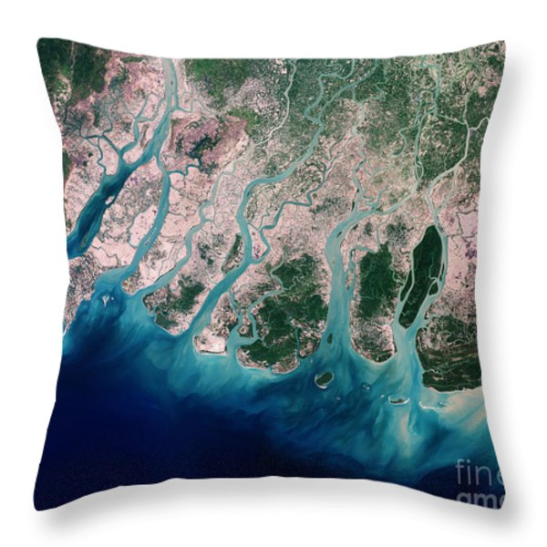 Irrawaddy River Delta Throw Pillow by NASA