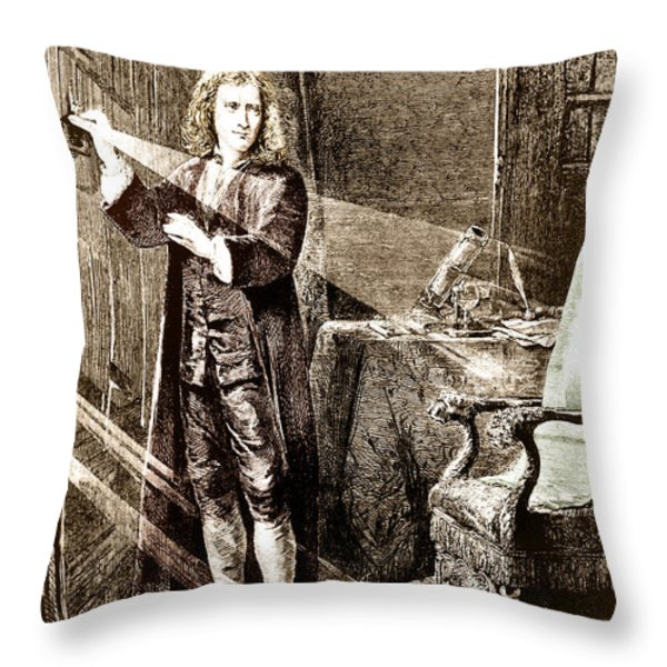 Isaac Newton Ray Of Light Throw Pillow by Science Source