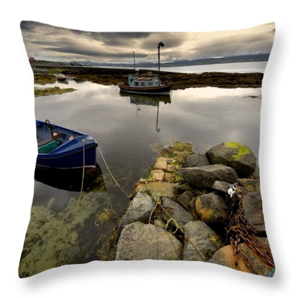 Islay, Scotland Two Boats Anchored By A Throw Pillow by John Short