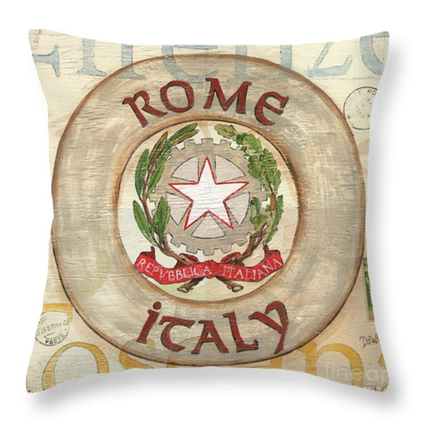 Italian Coat of Arms Throw Pillow by Debbie DeWitt