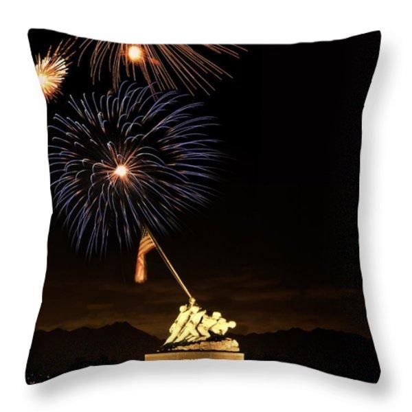 Iwo Jima Flag Raising Throw Pillow by Michael Peychich