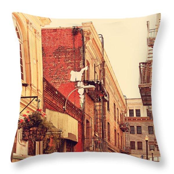 Jack Kerouac Street San Francisco . 7D7437 Throw Pillow by Wingsdomain Art and Photography