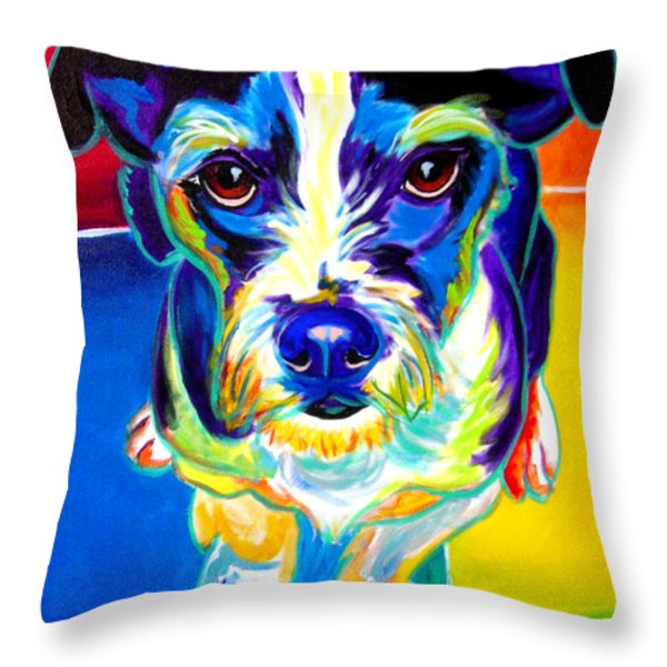 Jack Russell - Pistol Pete Throw Pillow by Alicia VanNoy Call