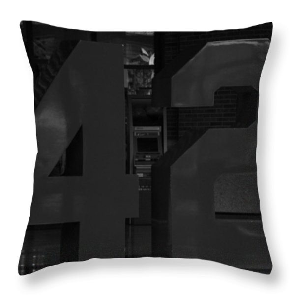 JACKIE ROBINSON in BLACK AND WHITE Throw Pillow by ROB HANS