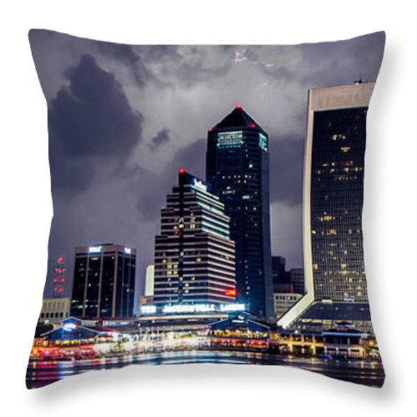Jacksonville on a Stormy Evening Throw Pillow by Jeff Turpin
