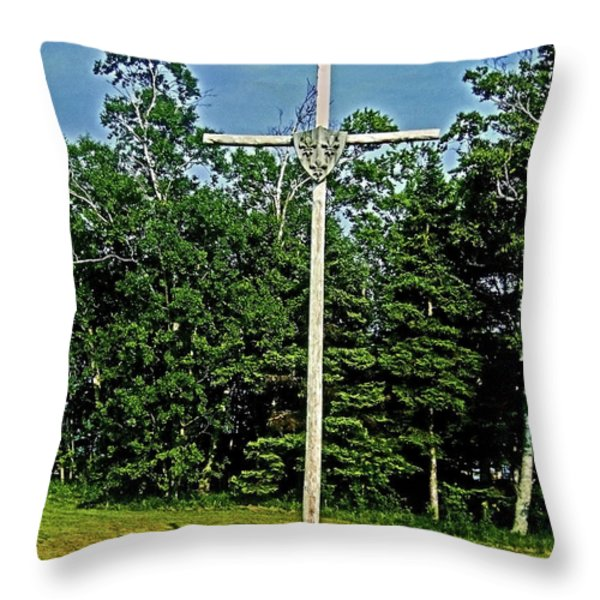Jacques Cartier In Gaspe 1534 ... Throw Pillow by Juergen Weiss