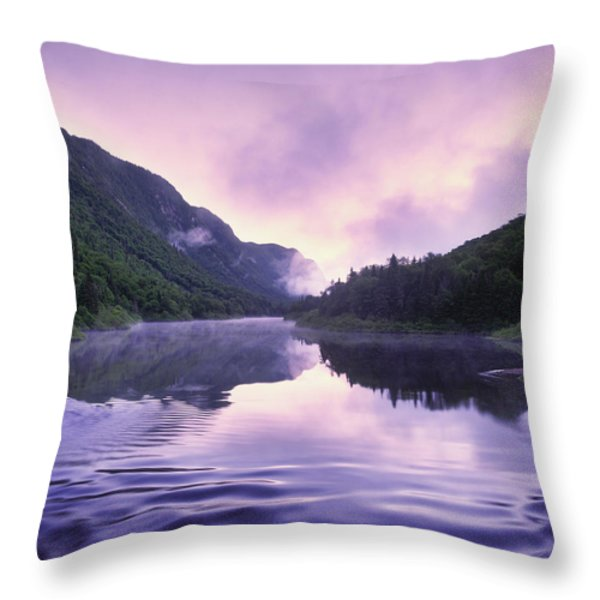 Jacques-cartier River And Mist At Dawn Throw Pillow by Yves Marcoux