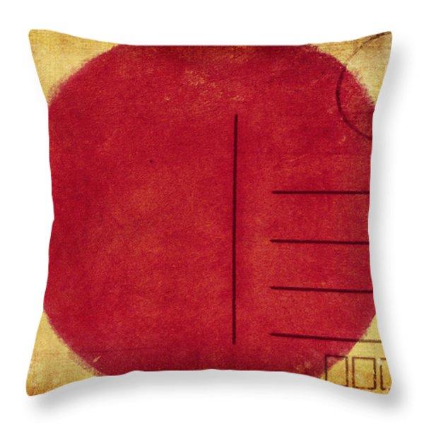 japan flag postcard Throw Pillow by Setsiri Silapasuwanchai
