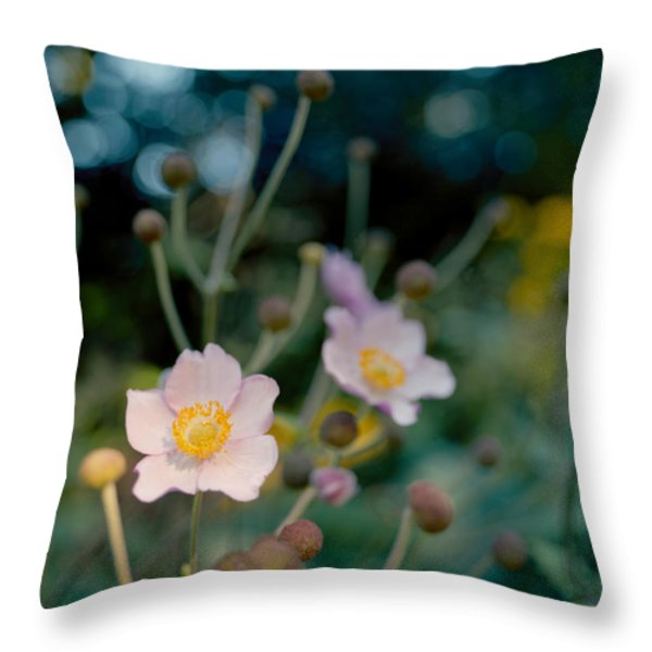 Japanese Anemones Throw Pillow by Marcio Faustino