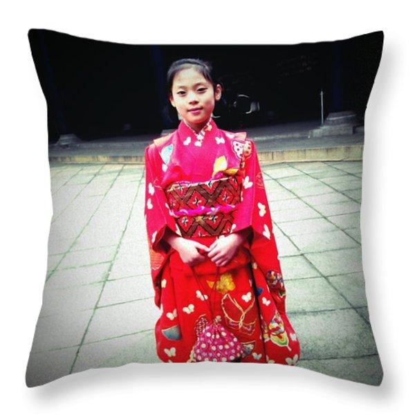 Japanese Girl Throw Pillow by Eena Bo