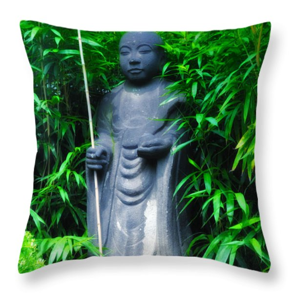 Japanese House Monk Statue Throw Pillow by Bill Cannon