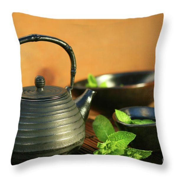 Japanese Teapot And Cup Throw Pillow by Sandra Cunningham