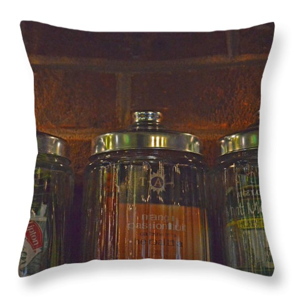Jars Of Assorted Teas Throw Pillow by Sandi OReilly