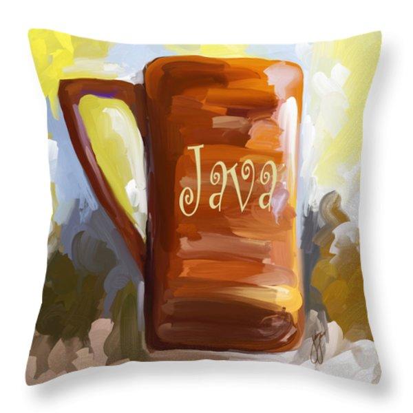 Java Coffee Cup Throw Pillow by Jai Johnson