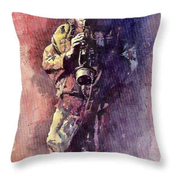 Jazz Miles Davis Maditation Throw Pillow by Yuriy  Shevchuk