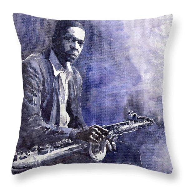 Jazz Saxophonist John Coltrane 03 Throw Pillow by Yuriy  Shevchuk