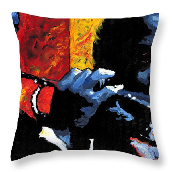 Jazz Trumpeters Throw Pillow by Yuriy  Shevchuk