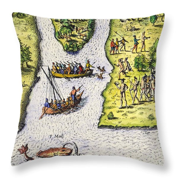 Jean Ribault: Florida, 1562 Throw Pillow by Granger